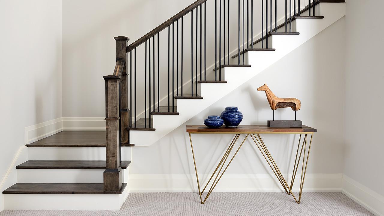 Staircase rendering for Elmwood Homes.