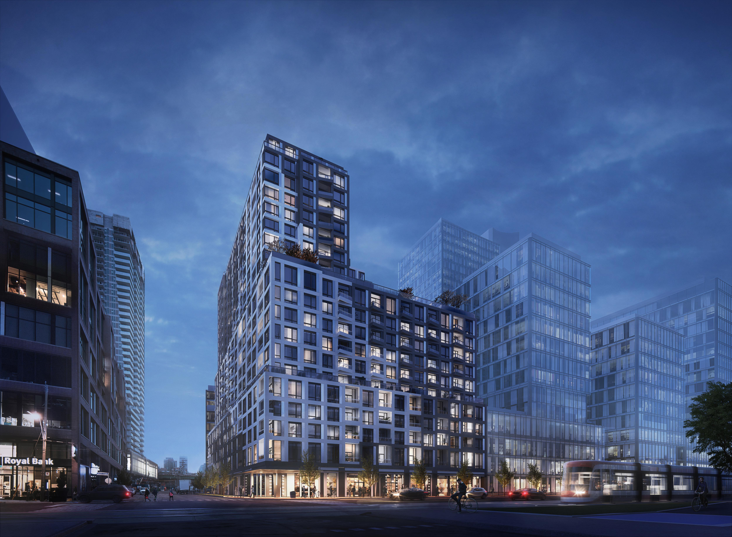 Rendering of Empire Quay House Condos exterior at night.