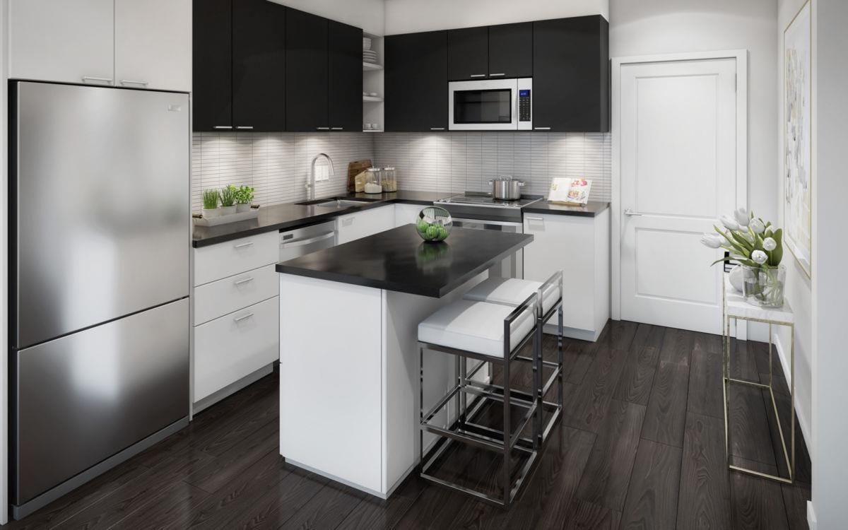 Kitchen rendering of GO.2 Condos.