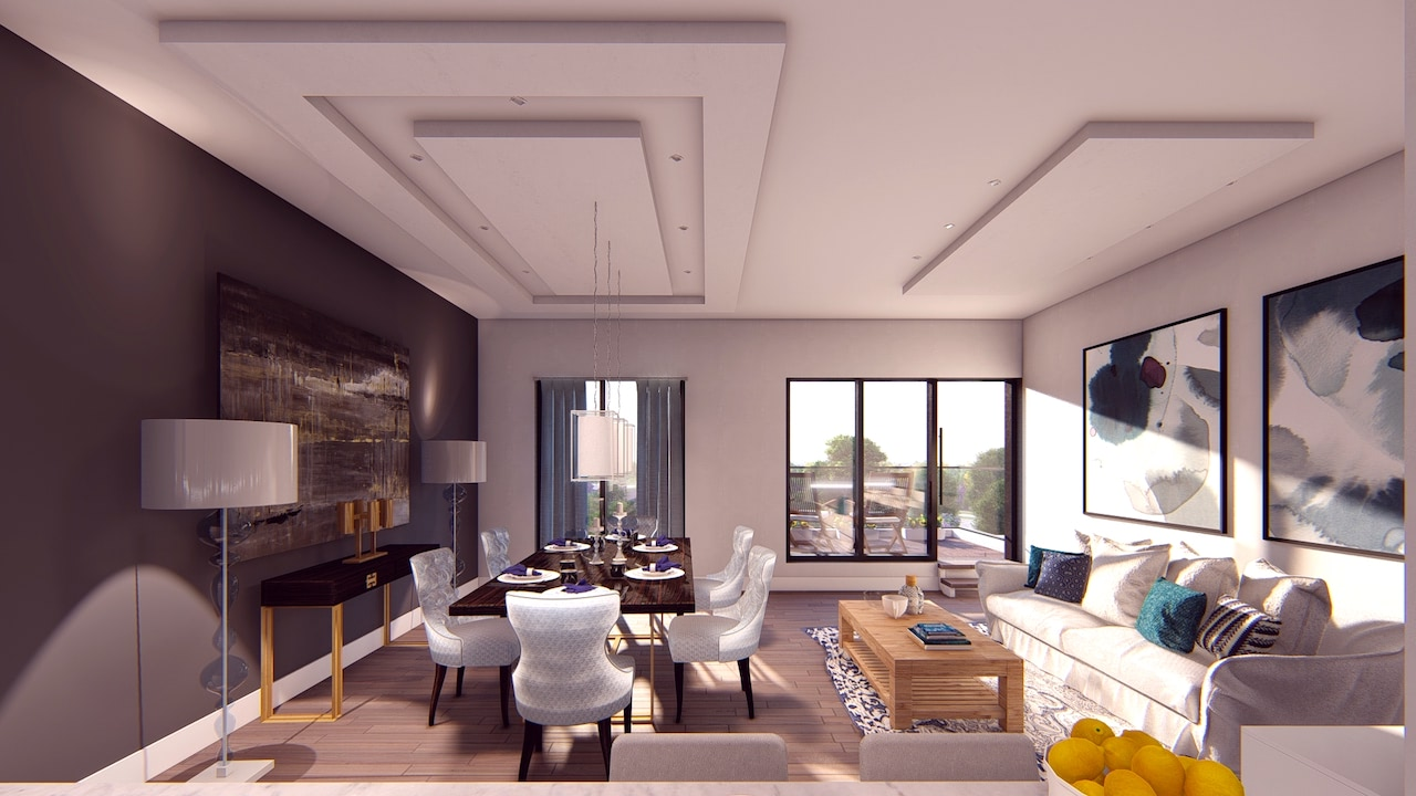 Interior living room rendering of Nahid on Broadview.