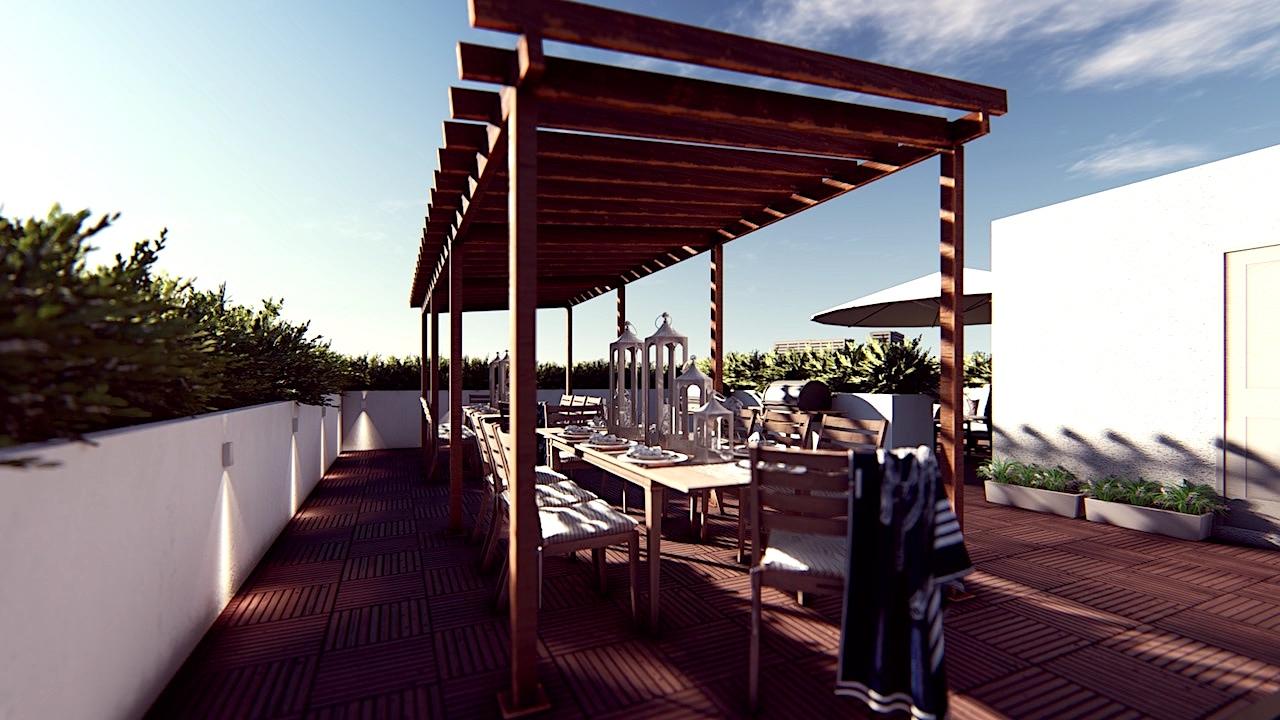 Terrace dining rendering of Nahid on Broadview.