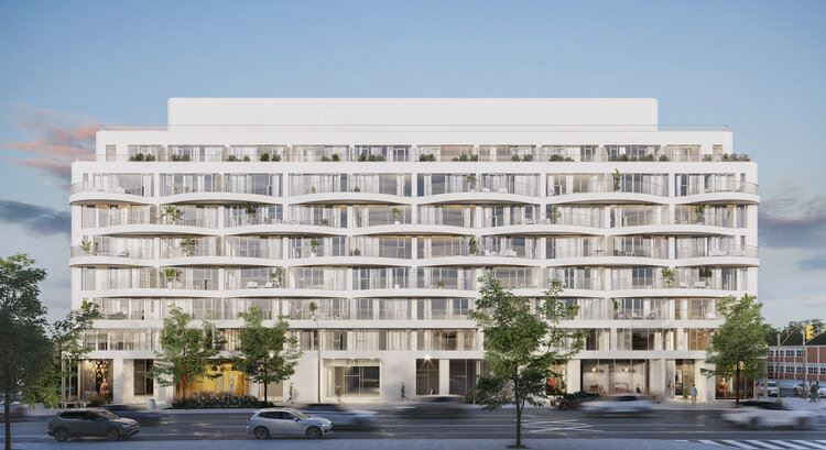 Rendering of Reina Condos exterior side-view
