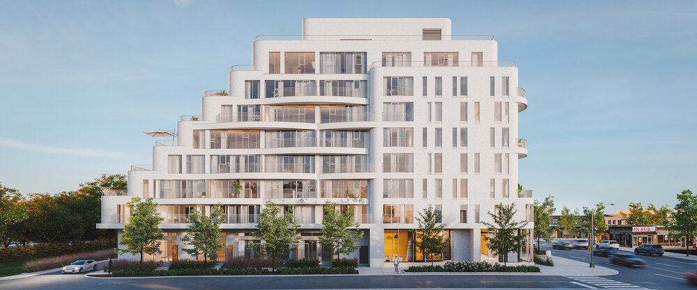 Rendering of Reina Condos exterior side-view.