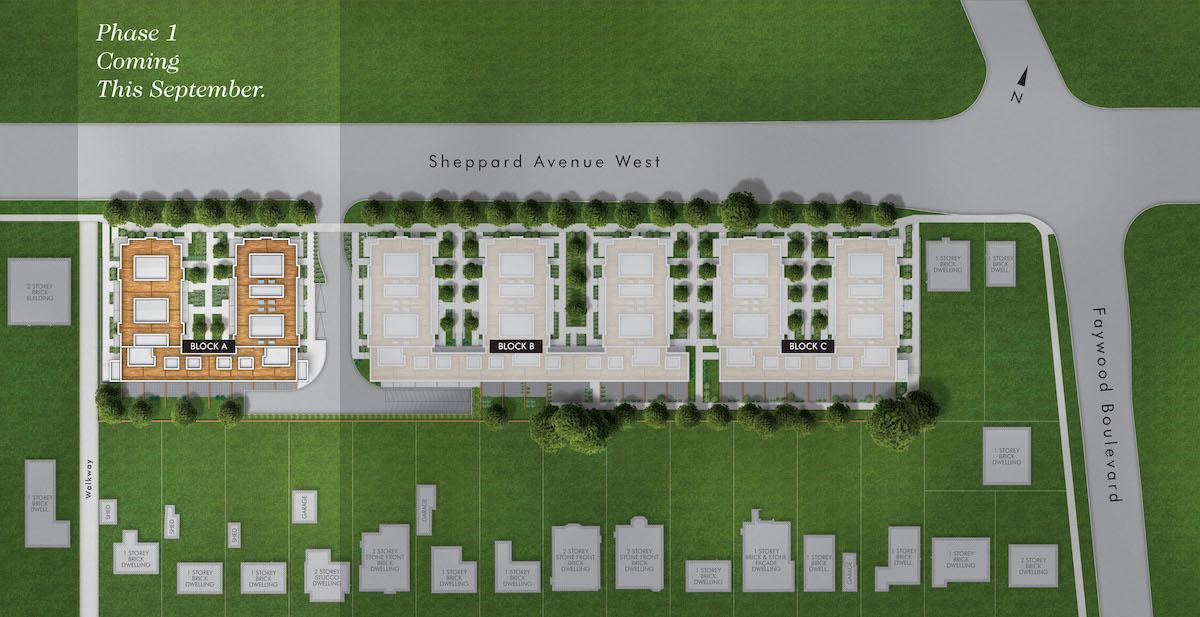 Rendering of Greenwich Village Towns siteplan.