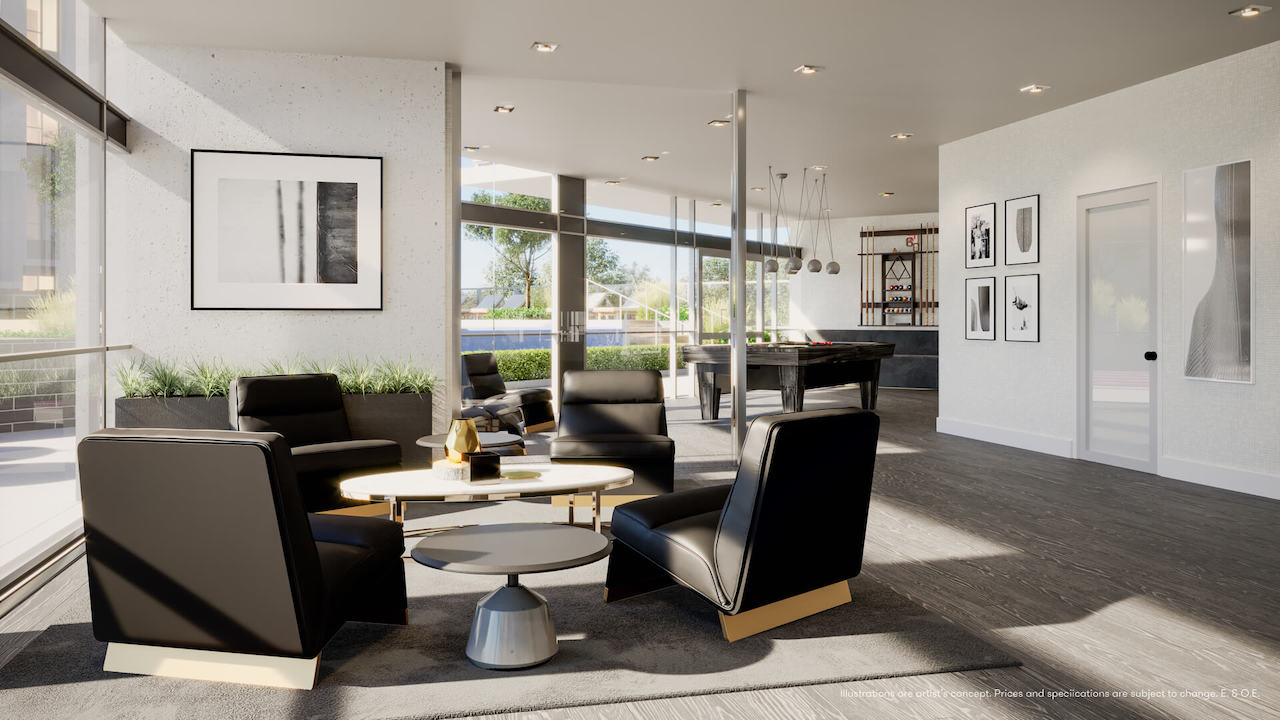 Rendering of Connectt Condos games lounge.