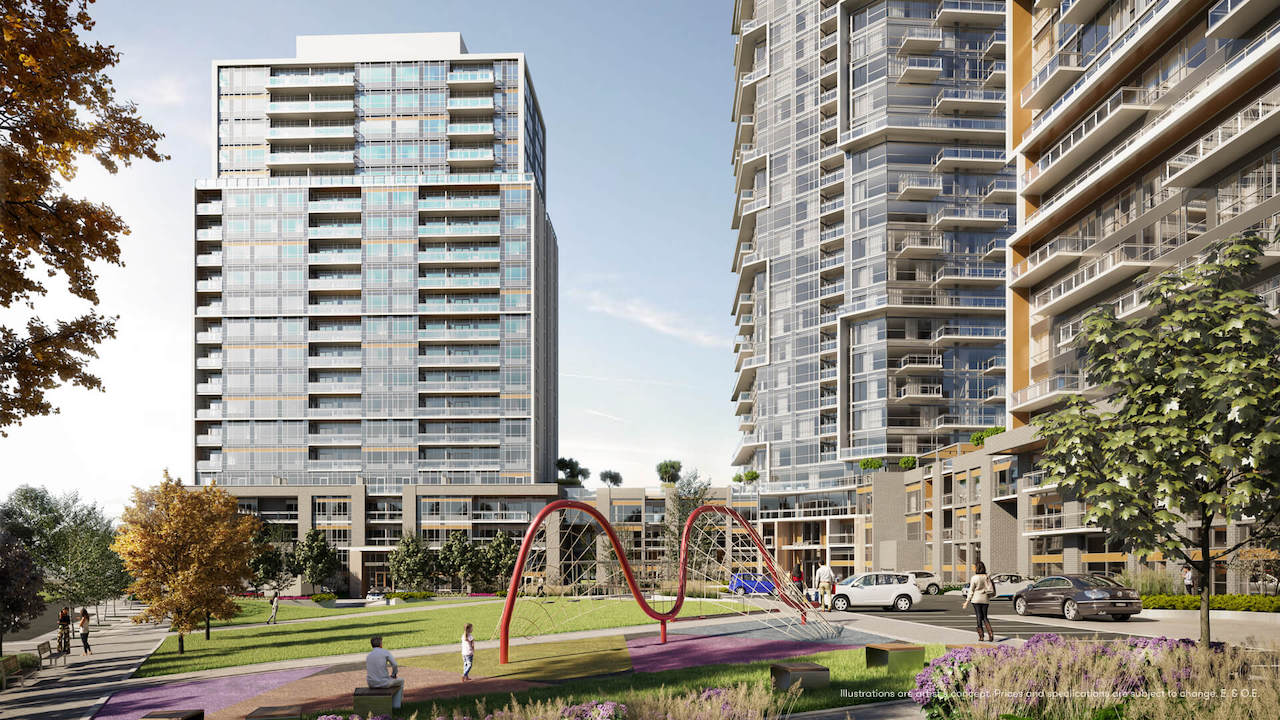 Rendering of Connectt Condos park and playground.