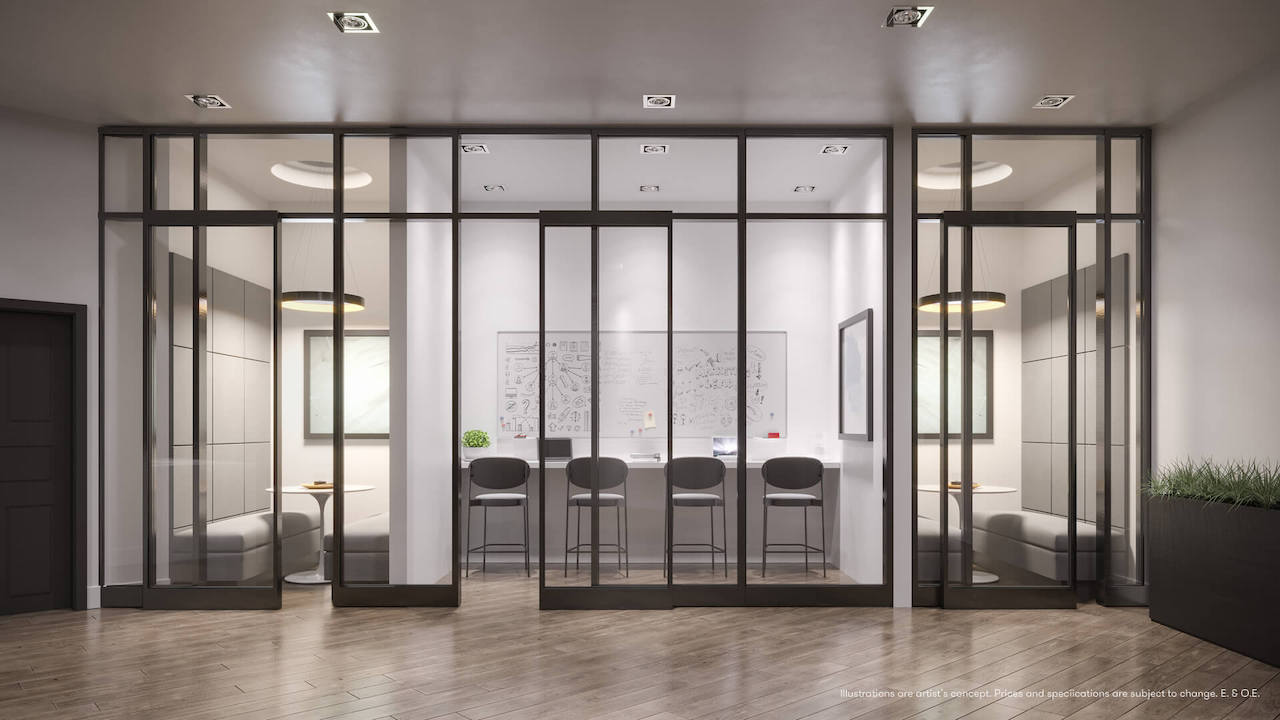 Rendering of Connectt Condos building wifi lounge.