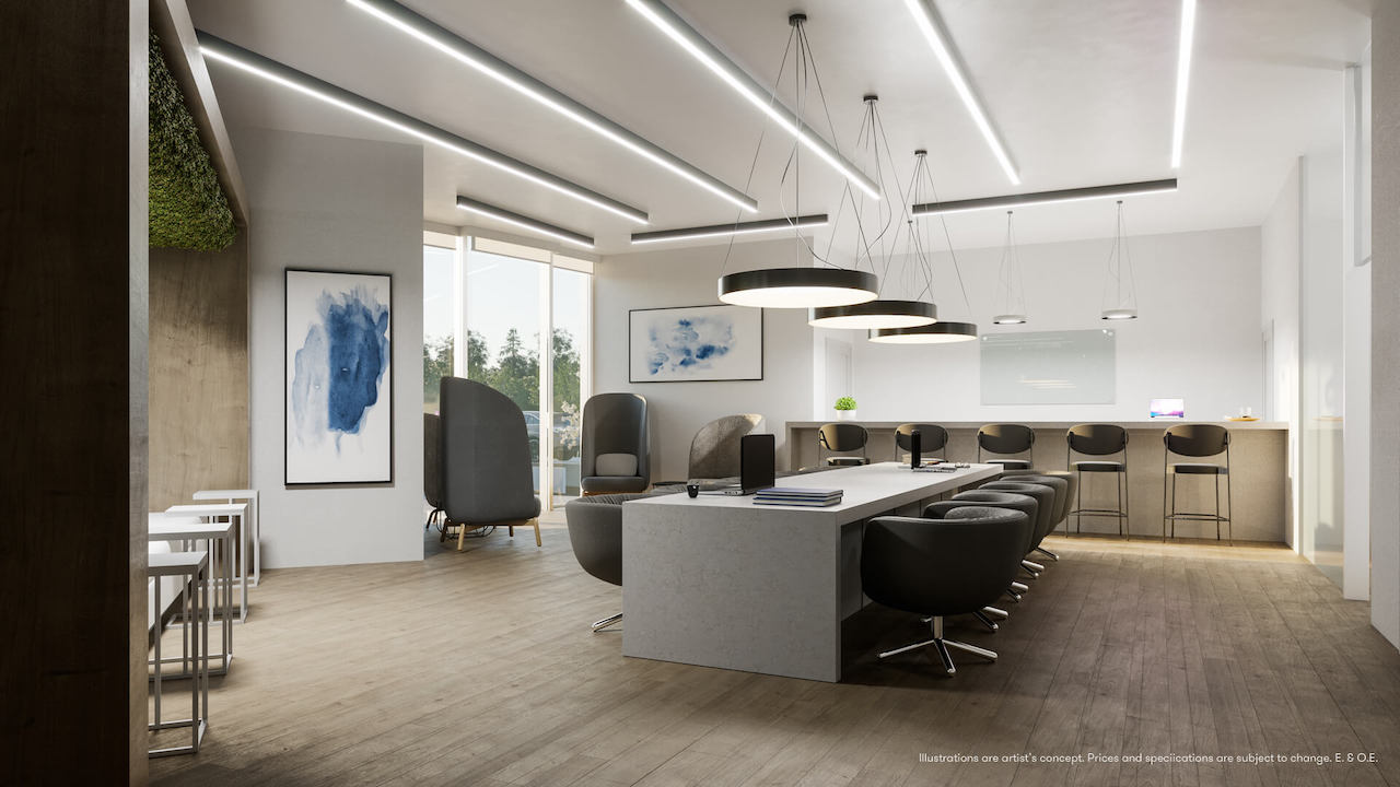 Rendering of Connectt Condos work and study lounge.