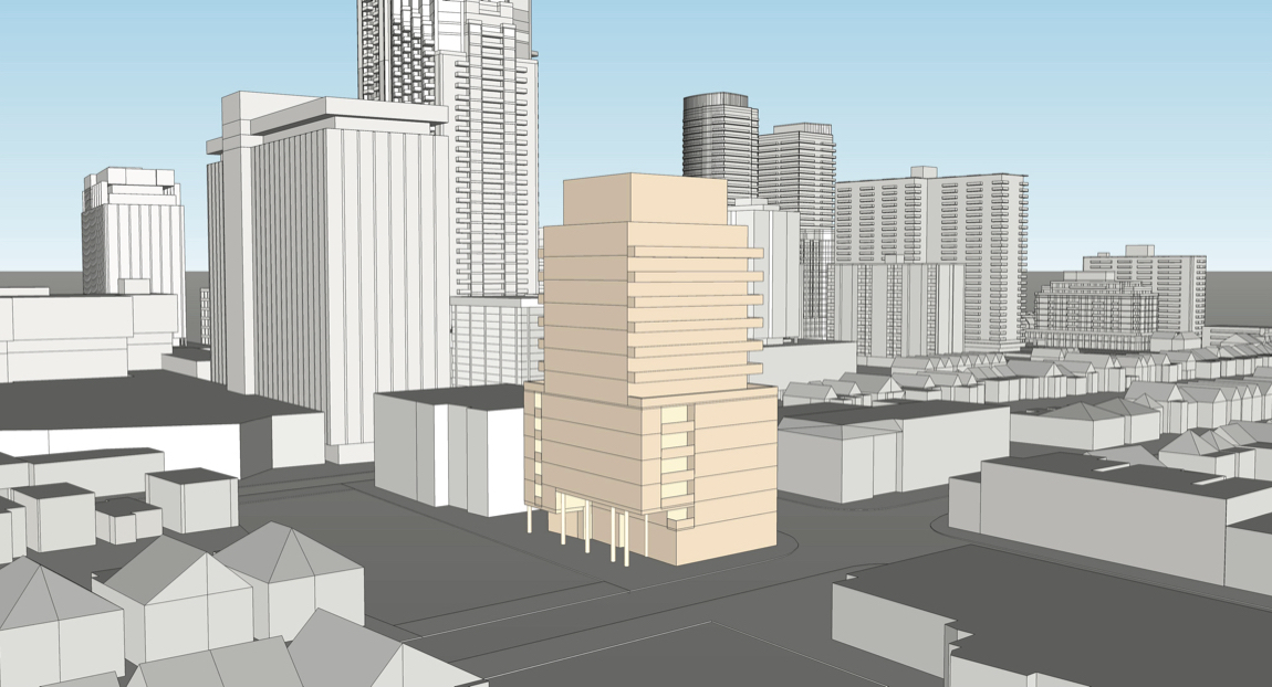 Exterior rendering of 2128 Yonge Street Condos view looking Northeast.