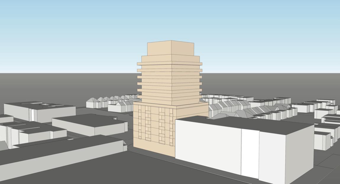 Exterior rendering of 2128 Yonge Street Condos view looking Southwest.