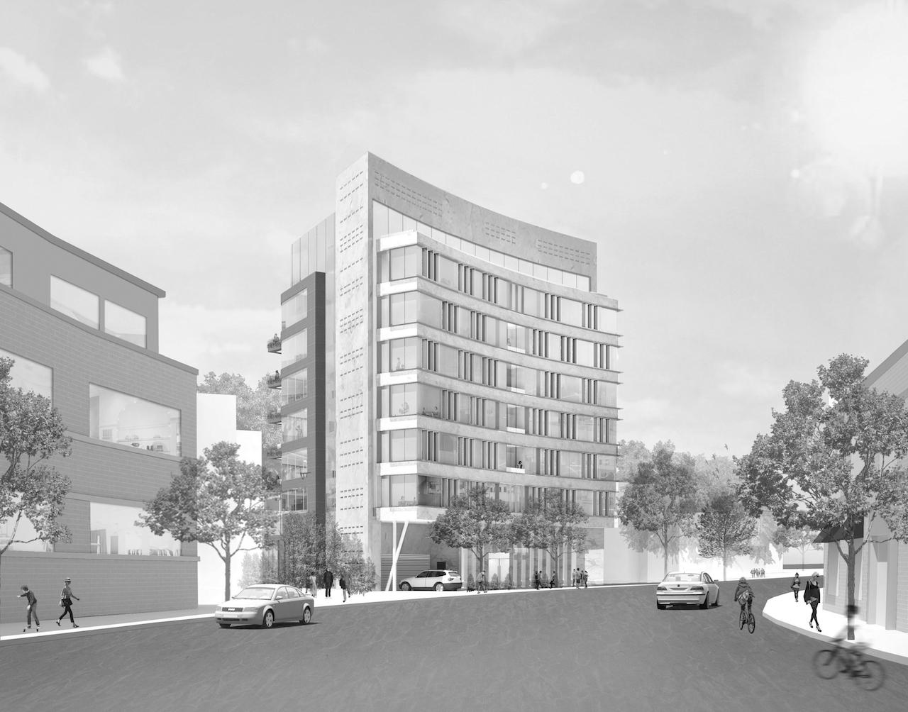 Colourless exterior rendering of 321 Davenport Condos.
