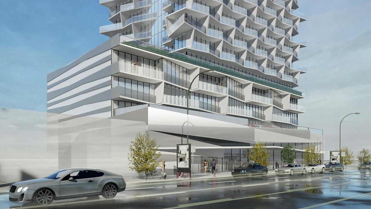Street view exterior rendering of 5400 Yonge Street Condos.
