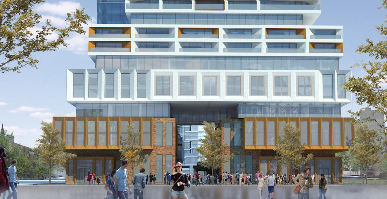 Rendering of 88 East Condos building at street level with retail.