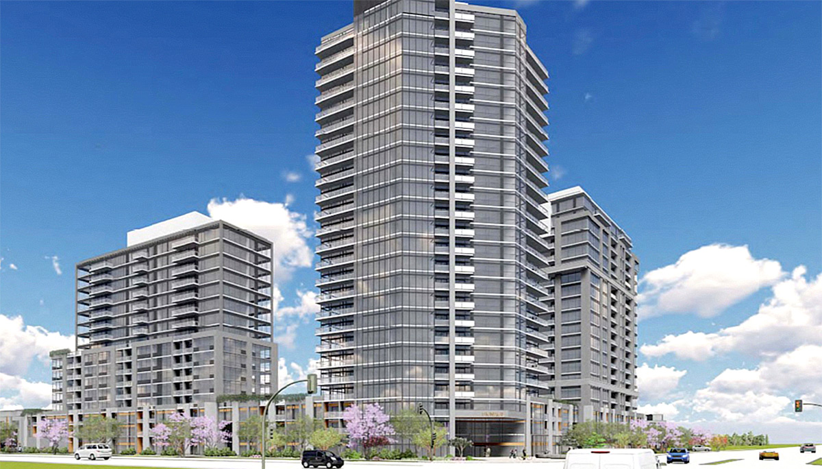 Exterior rendering of Connectt Milton Condos and Townhouse 3 Towers