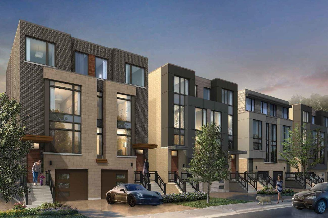 Exterior rendering of The Riverside Residences towns.