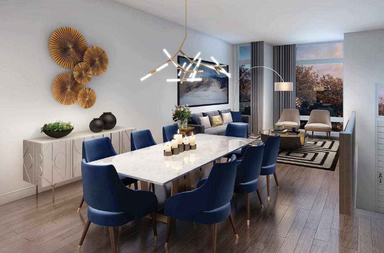 Interior rendering of The Riverside Residences dining room.