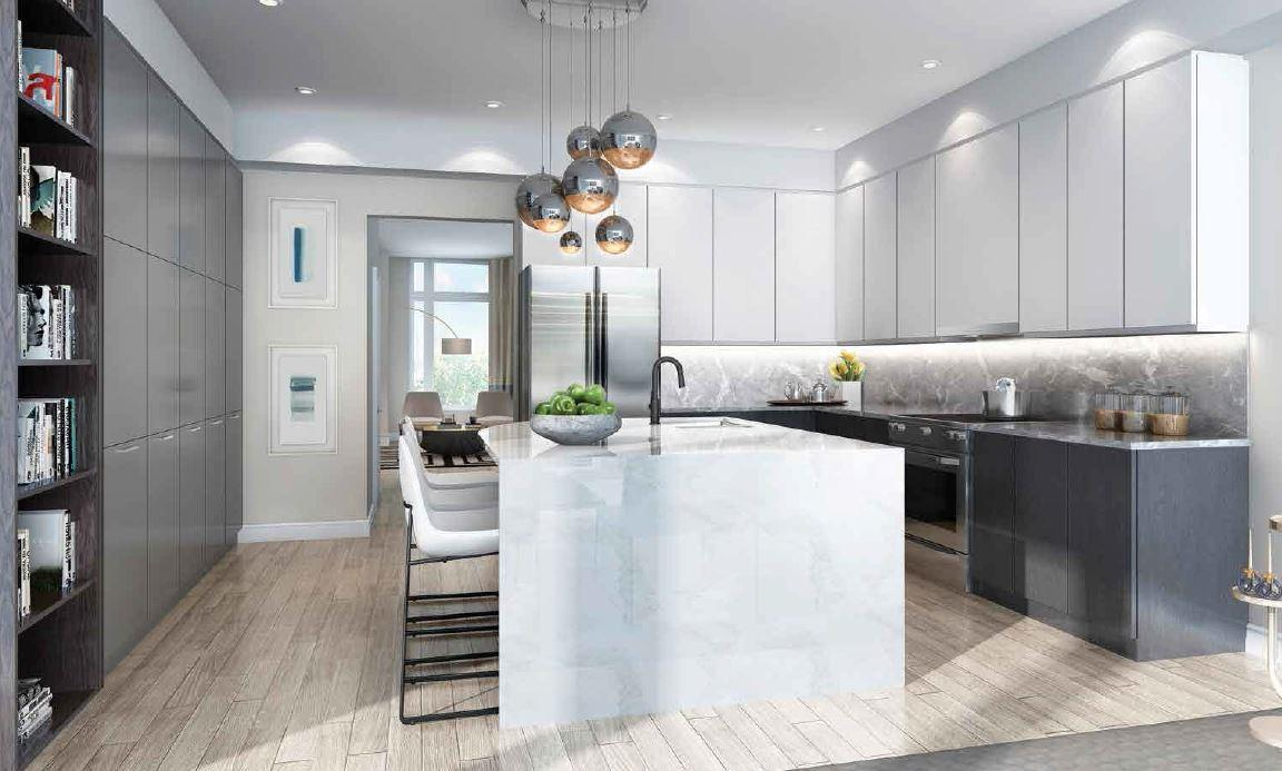 Interior rendering of The Riverside Residences kitchen.
