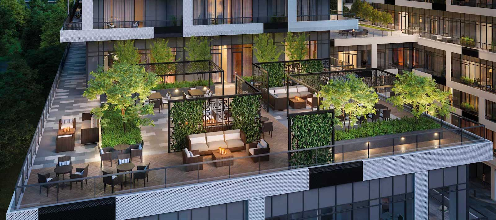 Exterior rendering of Sixty-Five Broadway Condos rooftop terrace in the evening.