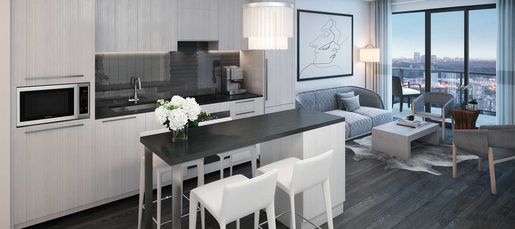 Suite kitchen rendering of Sixty-Five Broadway Condos.