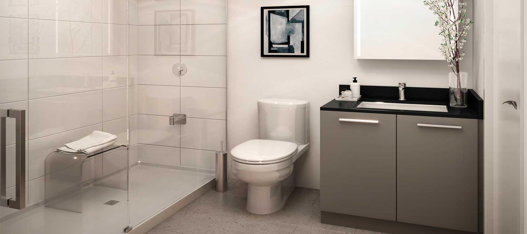 Suite bathroom rendering of Sixty-Five Broadway Condos.