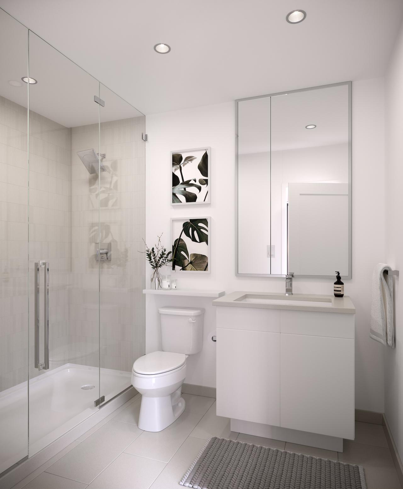 Rendering of EX2 Condos suite bathroom.