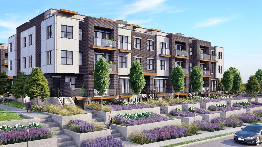 Rendering of 20Twenty Towns building exterior with lavender garden.