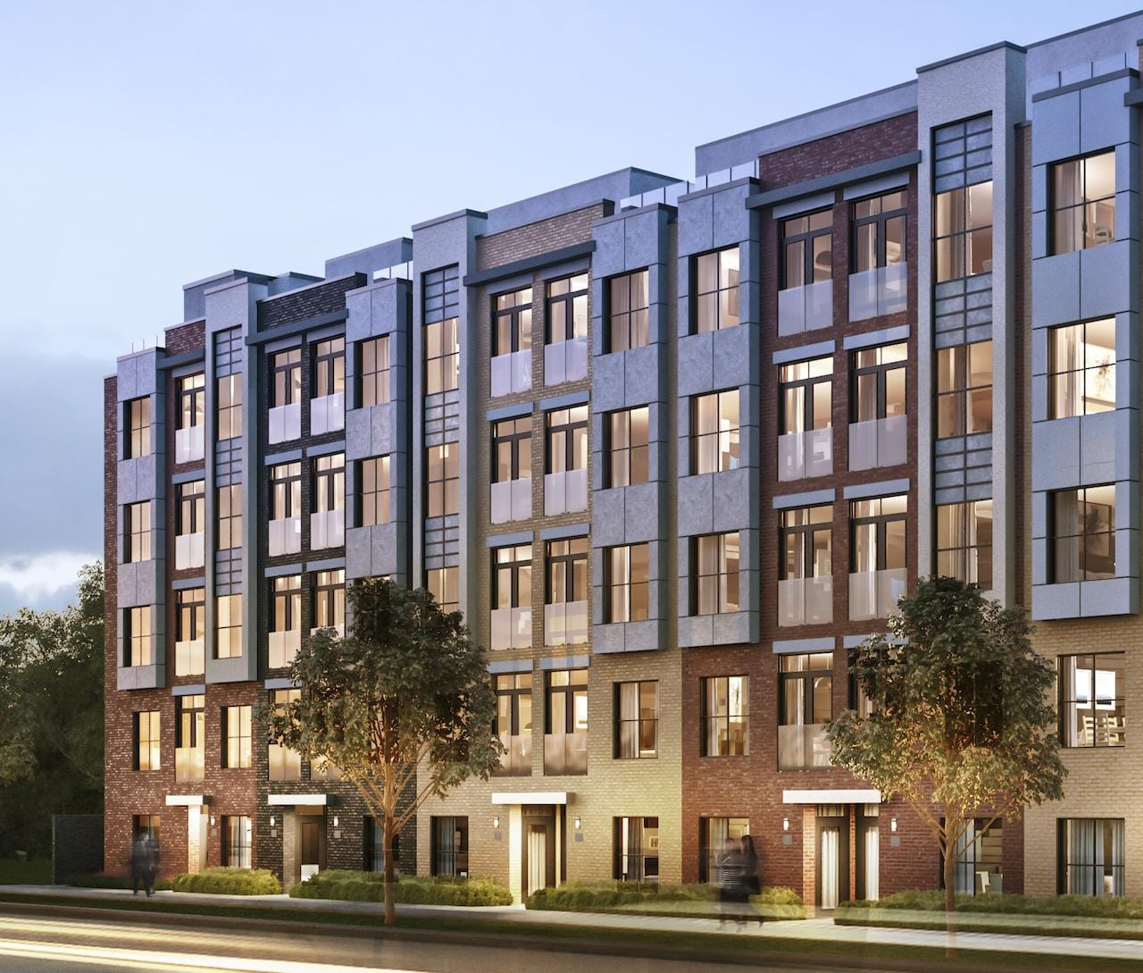 Exterior rendering of Clanton Park Towns with street view in the evening.