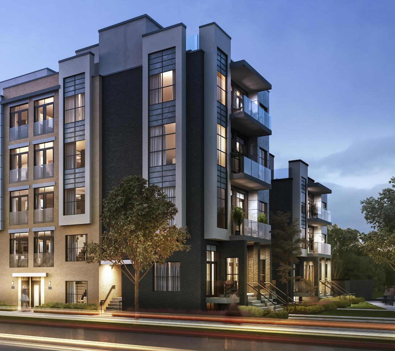 Exterior side-view rendering of Clanton Park Towns in the evening.