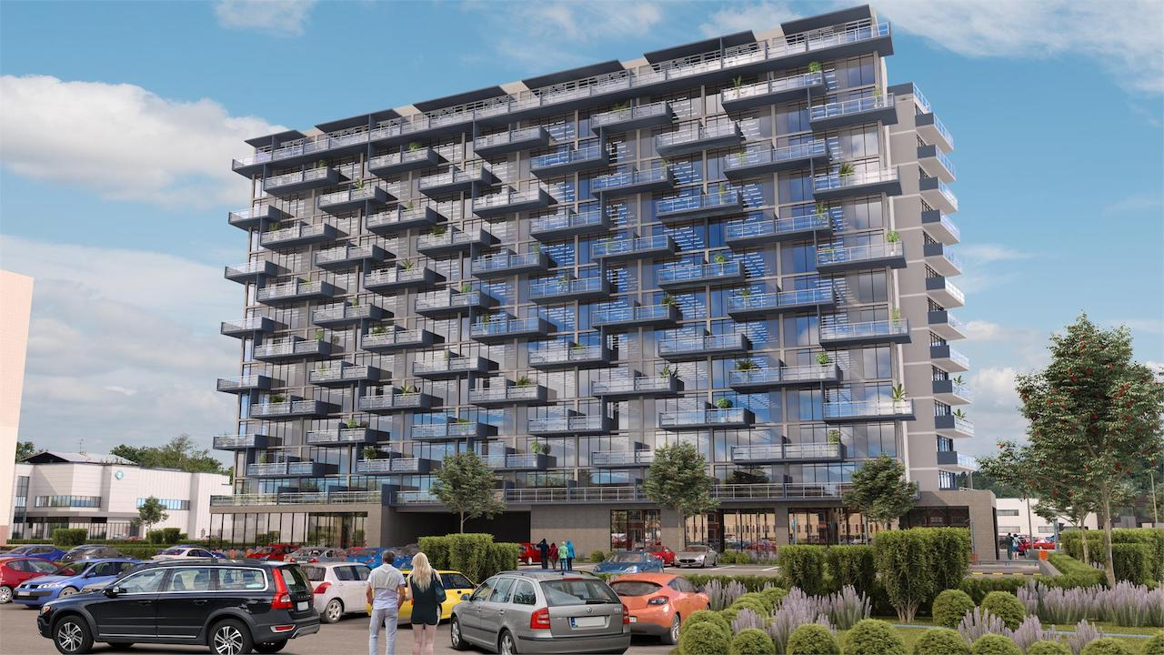 Exterior rendering of LJM Tower Condos and front parking area.
