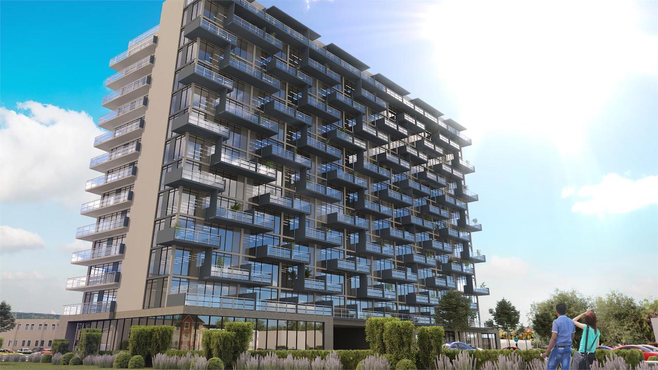 Angled exterior rendering of LJM Tower Condos.