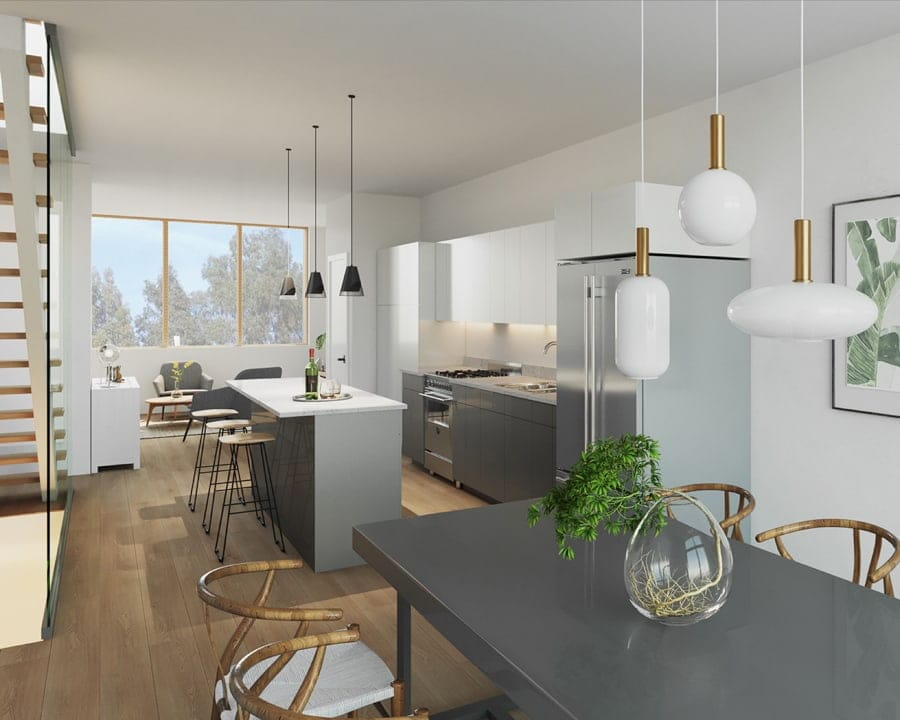 Interior suite kitchen rendering of Preeminent Lakeshore townhouses.