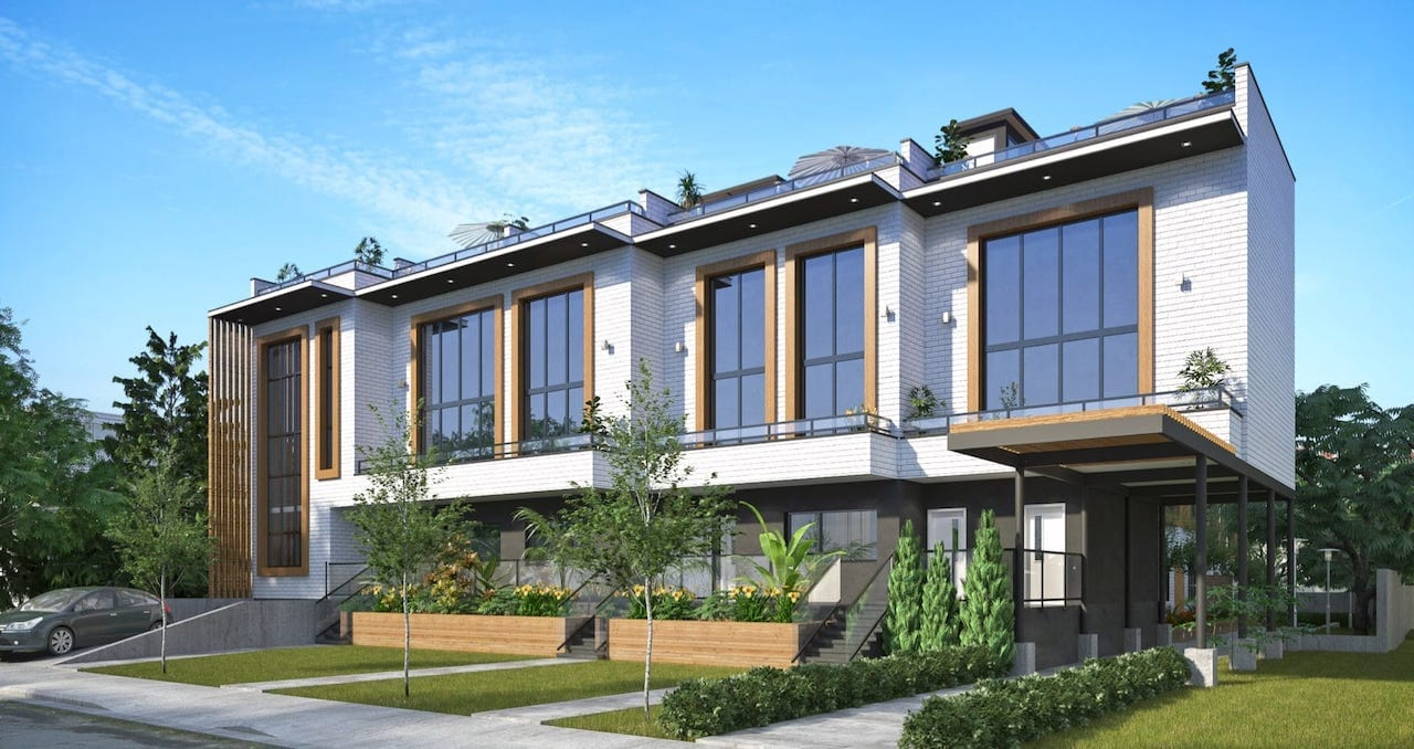 Exterior rendering of Preeminent Lakeshore townhouses and garden area.
