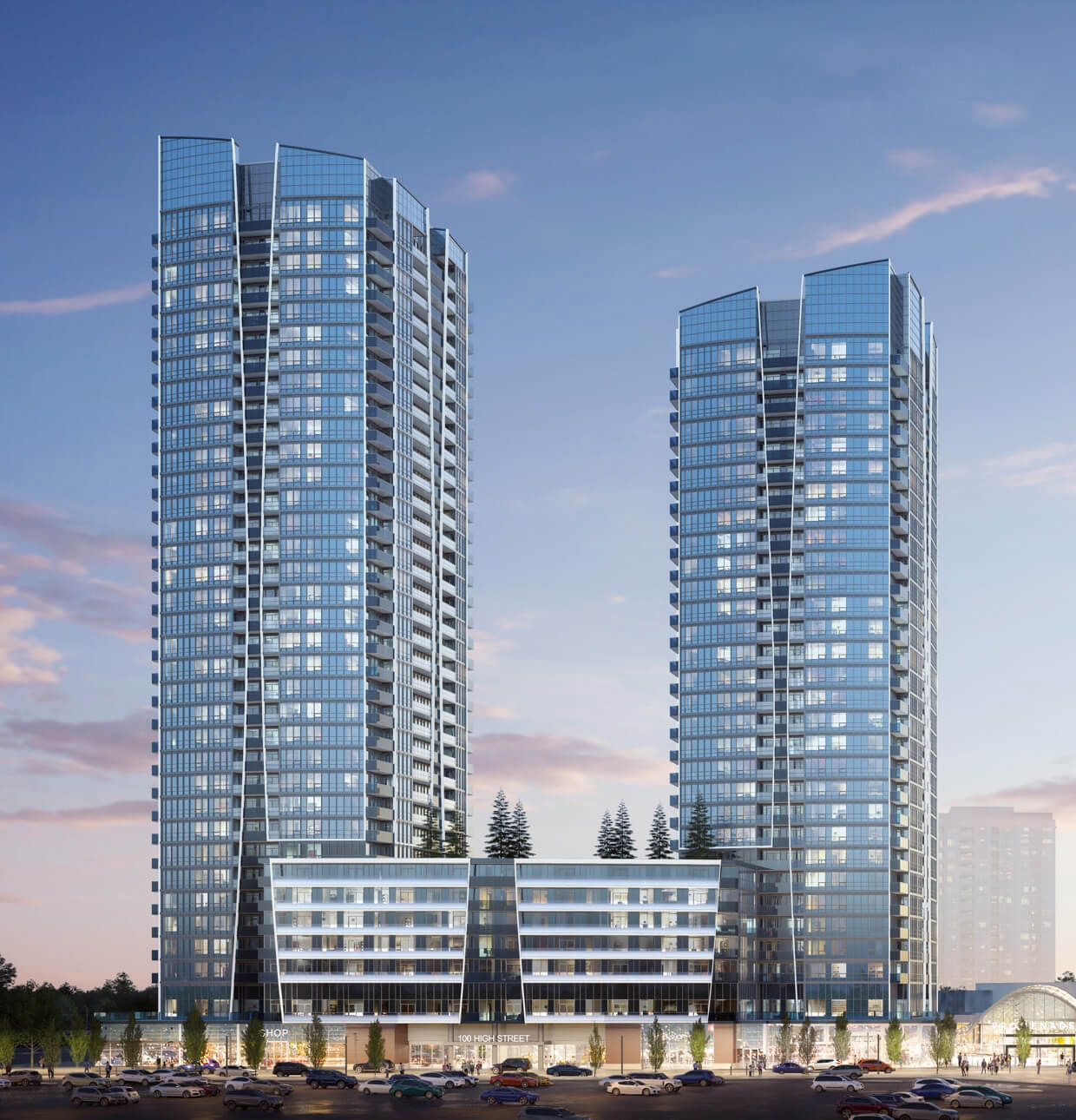 Exterior rendering of Promenade Park Towers phase 1.