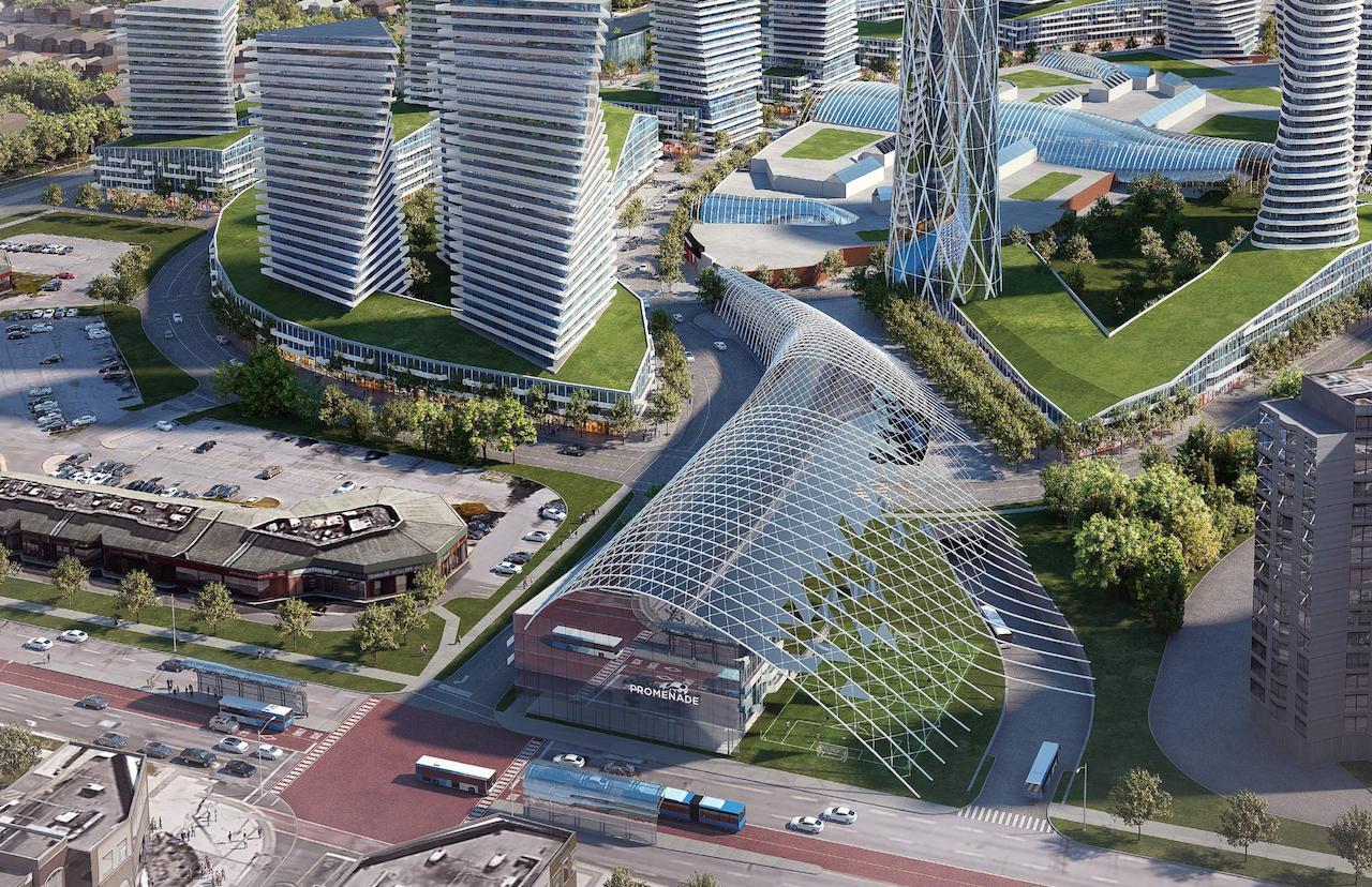 Exterior rendering of Promenade Park Towers revitalized transit hub.