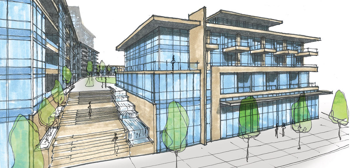 Sketch of 1345 Lakeshore Road Condos exterior at lakeshore frontage.
