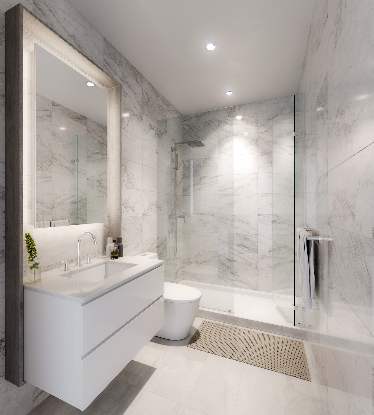 Rendering of the Bond on Yonge townhome ensuite bathroom with marble features.