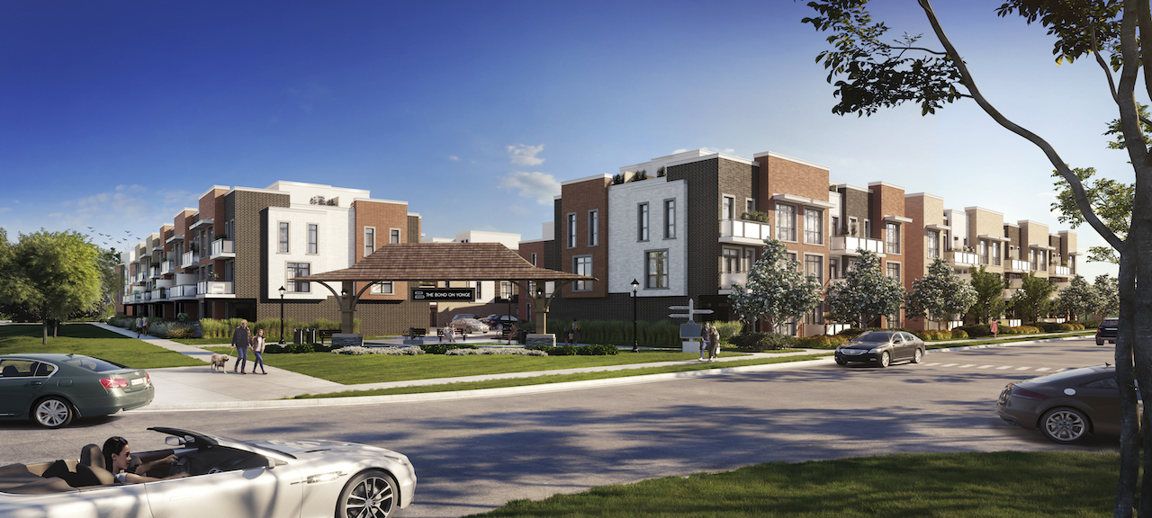 Exterior rendering of The Bond towns corner parkette during the day.
