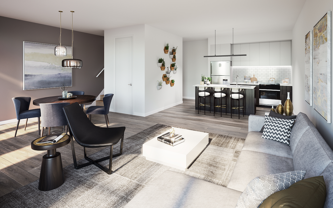 Interior rendering of The Bond towns standard suite.