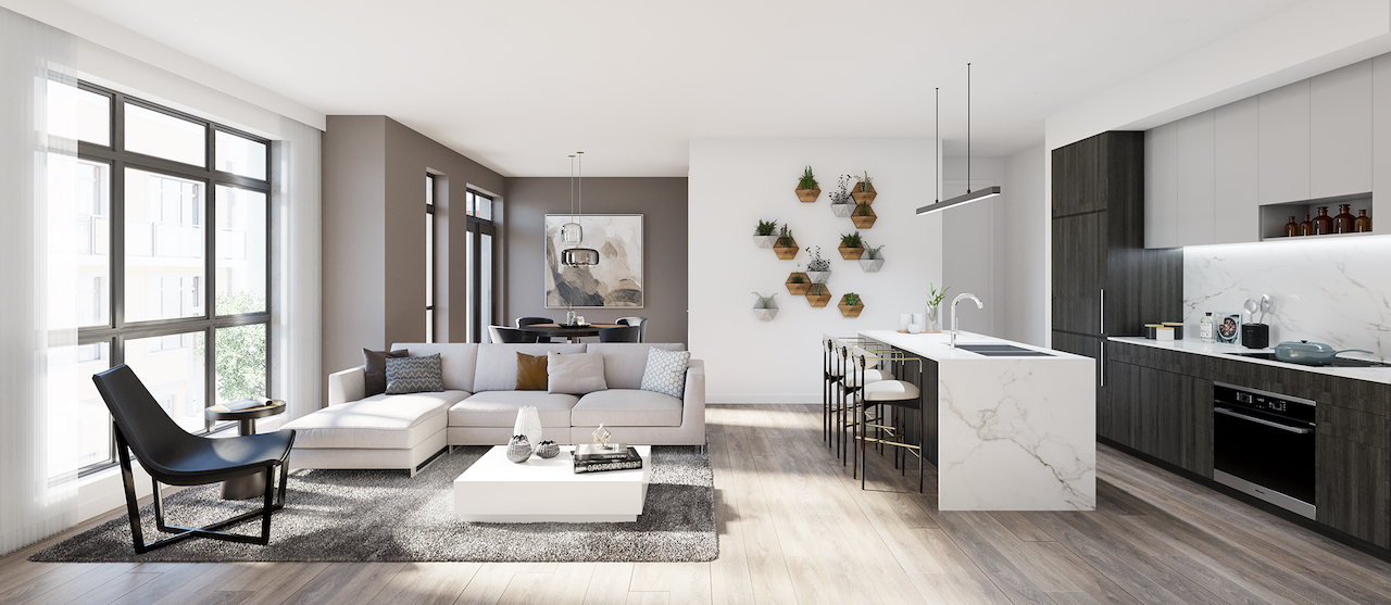 Interior rendering of The Bond towns open-concept suite.