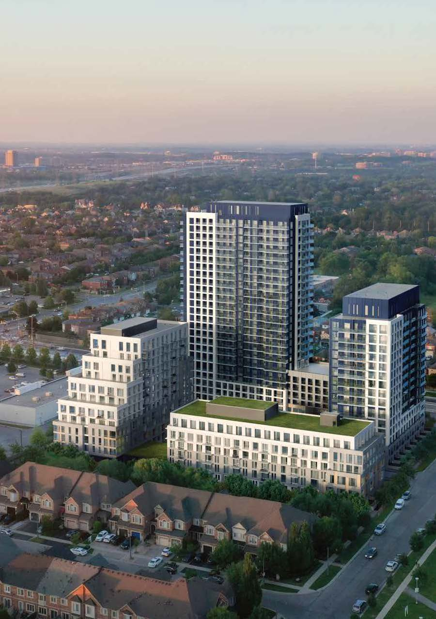 Exterior aerial rendering of The Thornhill Condos and surrounding buildings.