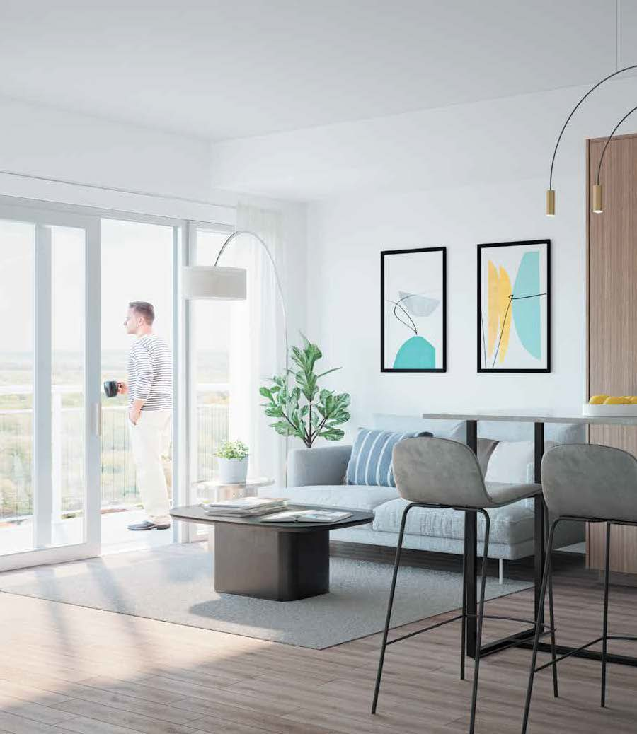 Interior rendering of The Thornhill Condos suite living area.