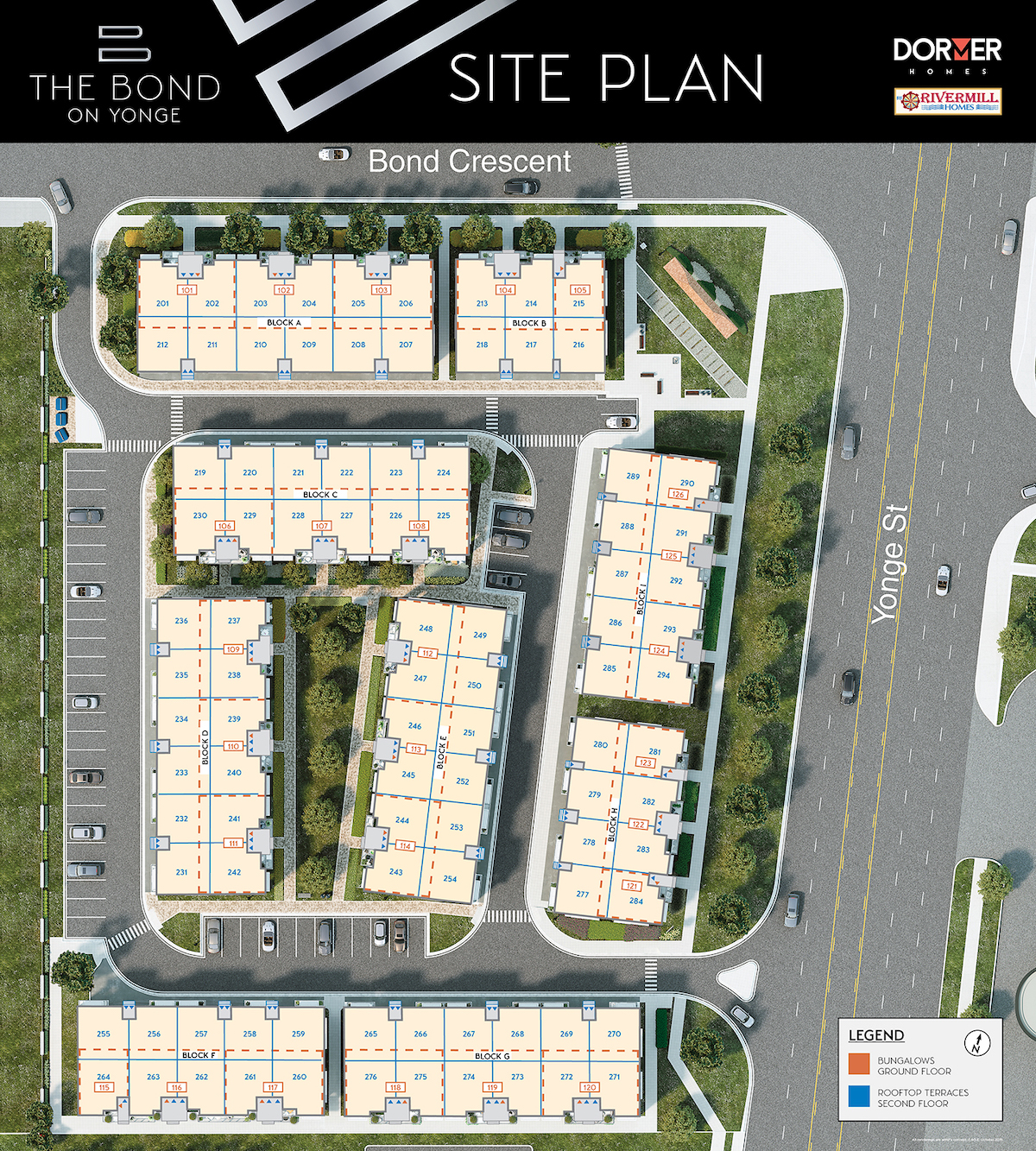 The Bond on Yonge site map with unit labels