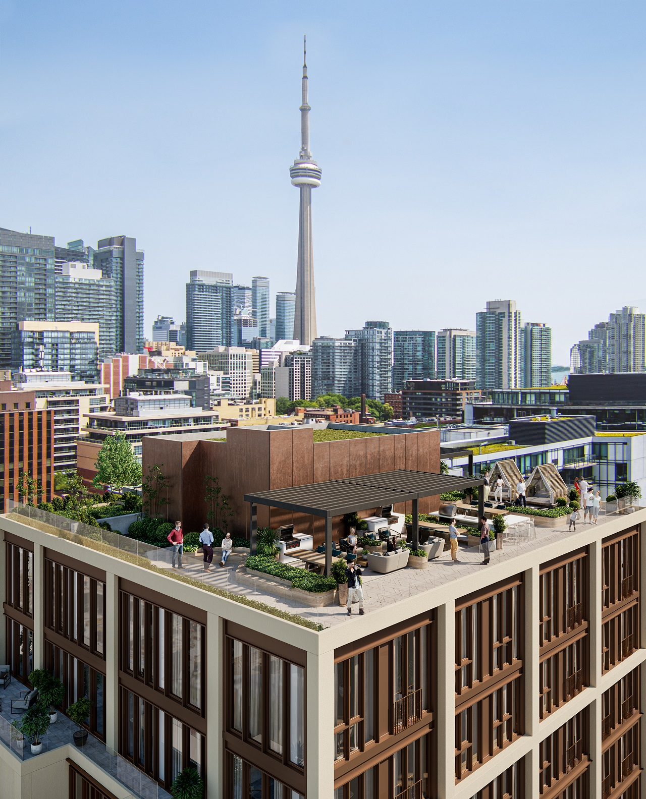 Rendering of 123 Portland Condos rooftop terrace with views of Toronto's CN tower.