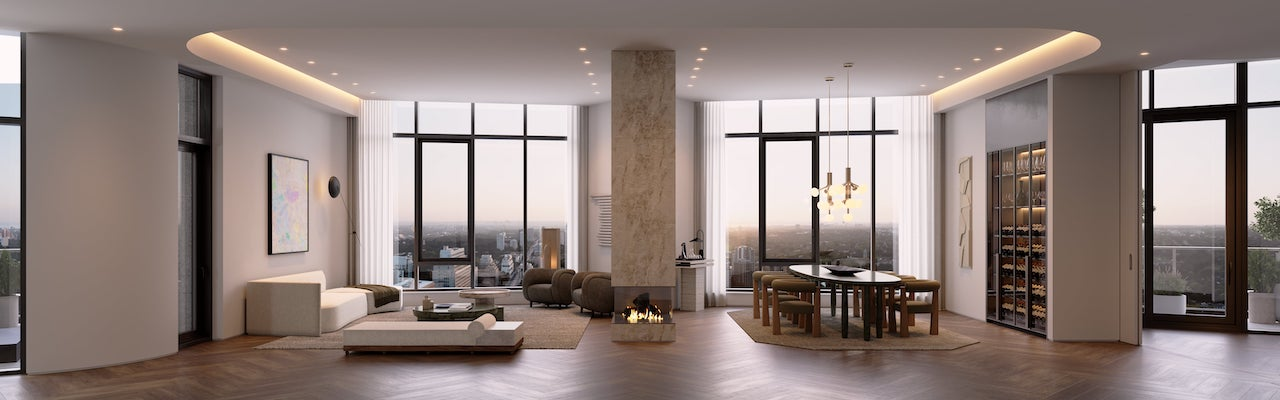 Rendering of One Delisle penthouse interior
