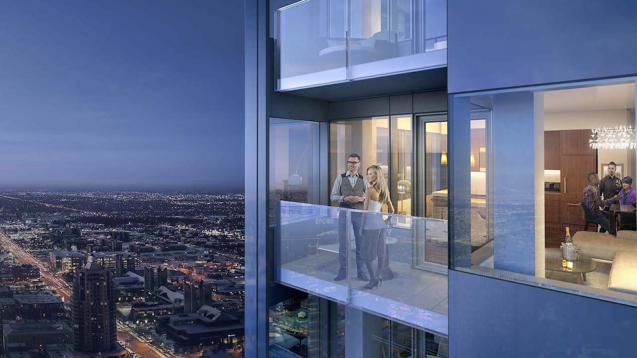 Rendering of SKY Residences at ICE District unit balcony at night.
