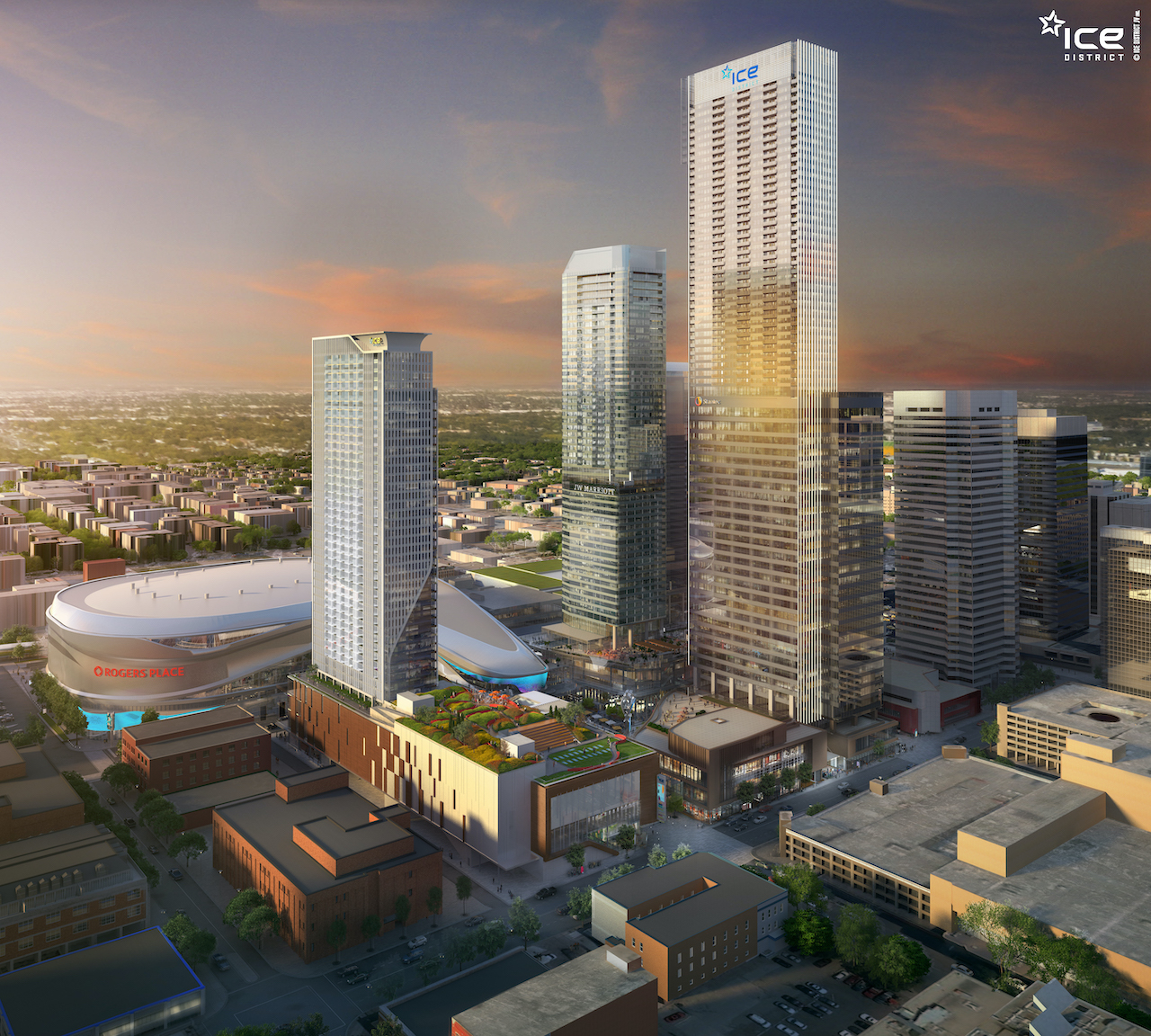 Rendering of SKY Residences at ICE District aerial view in the evening.