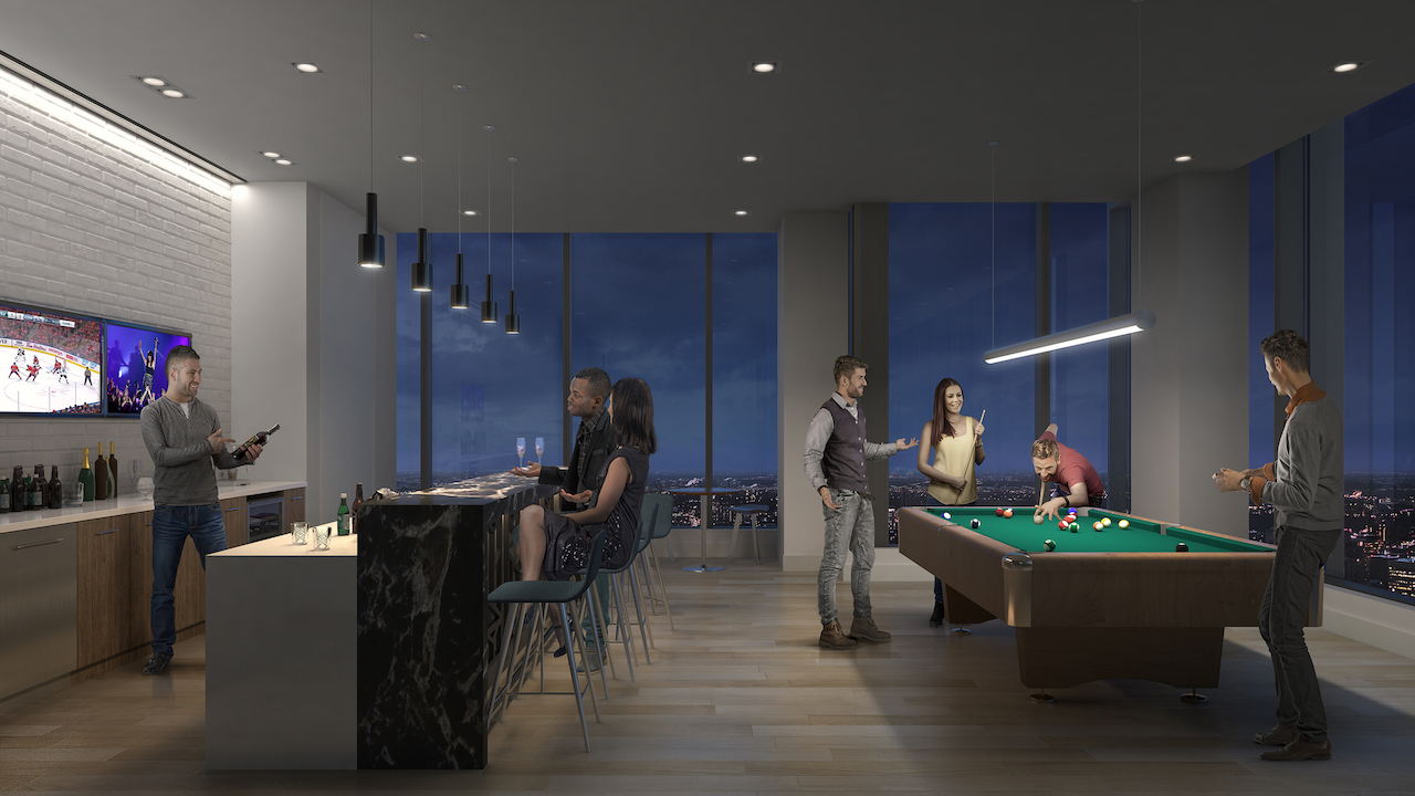Rendering of SKY Residences at ICE District Billiards Room.