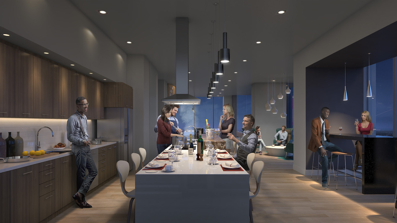 Rendering of SKY Residences at ICE District Event Kitchen.