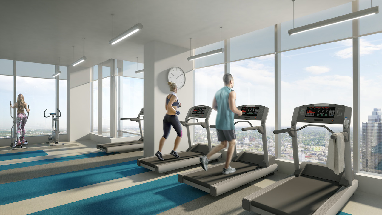 Rendering of SKY Residences at ICE District Fitness Centre.