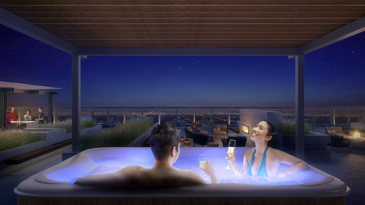 Rendering of SKY Residences at ICE District Hot Tub at night.